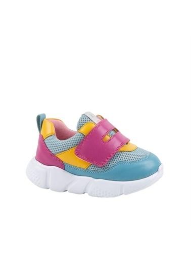 Kids A More Ellion Tek Cırtlı Deri Ve Air File Detaylı Kız Çocuk Sneaker Mavi-Fuşya Mavi